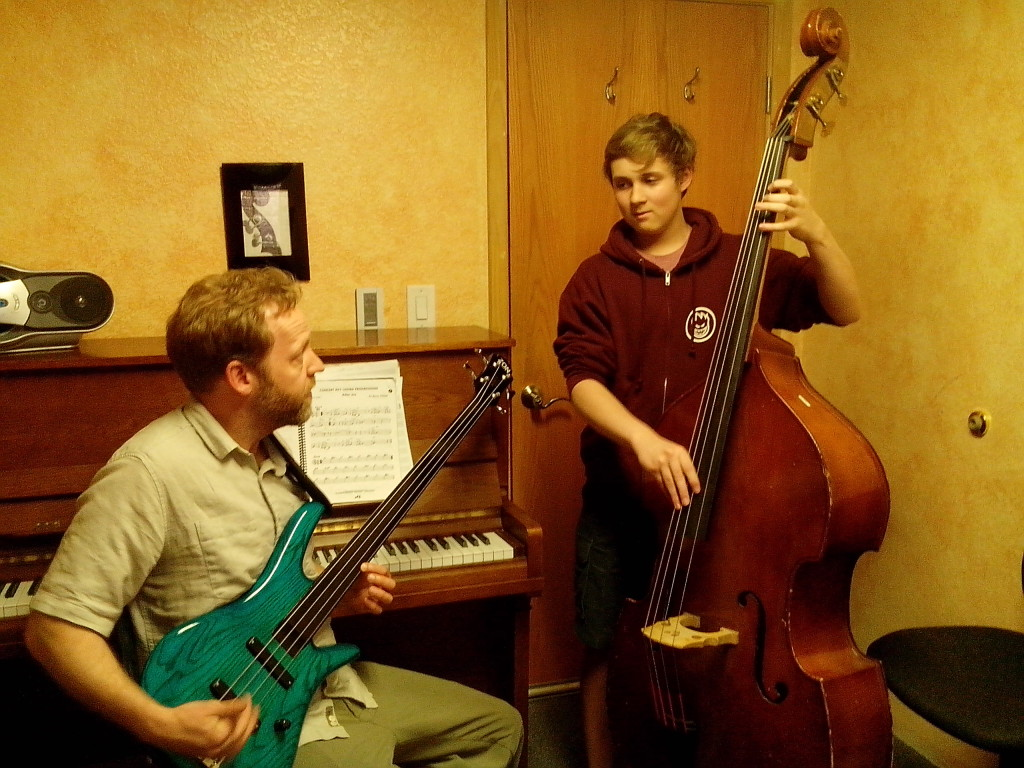 Matt Human teaches an upright bass lesson
